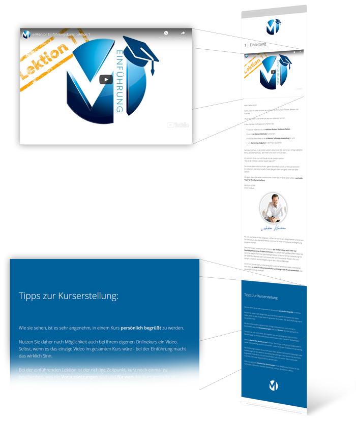 Bild: Kurs mit Video und Text mit Tipps für Kurserstellung